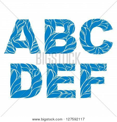 Blue Delicate Capital Letters With Marine Ornament. Spring Font With Natural Pattern, A, B, C, D, E,