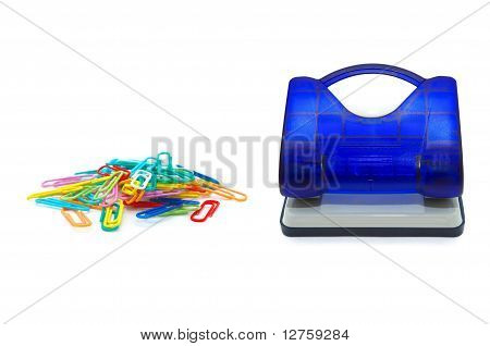 Hole puncher with colour paperclips