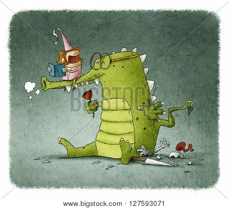 Illustration of princess reading fairytale to loving dragon in glass with red rose sitting on knight