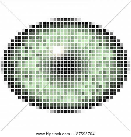Pixel Maping Of Elliptic Green Eye. Bright Iris, Light Reflection In Eye