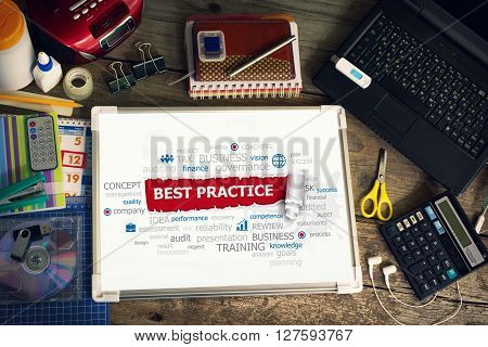 Best practice concept for business consulting finance management. Best practice concepts for printed materials.