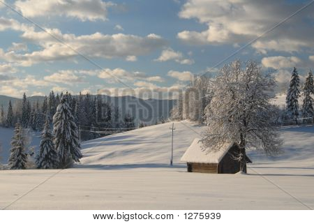 Alpine House Covered In Snow