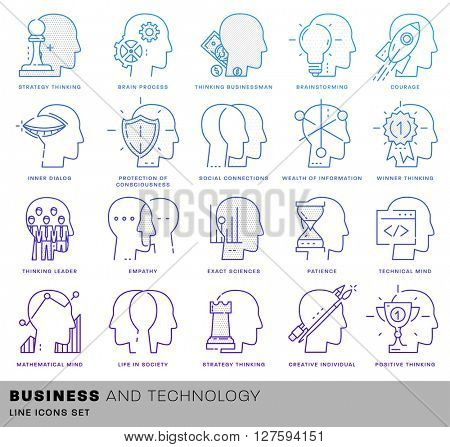 Thin Line Icons Set. Brain, Mind and Emotions for Websites, Banners, Infographic Illustrations. Simple Linear Pictograms Collection. Logo Concept for Trendy Designs. Premium Quality Pictogram Pack