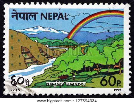 NEPAL - CIRCA 1992: a stamp printed in the Nepal dedicated to Environment Protect the Environment circa 1992