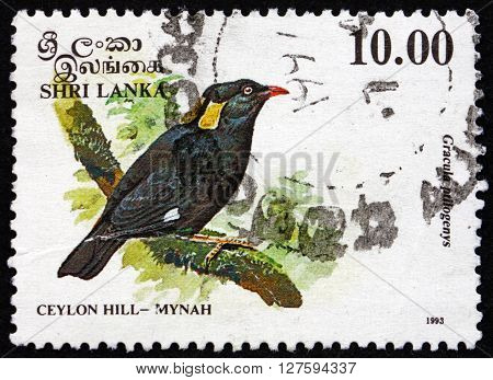 SRI LANKA - CIRCA 1993: a stamp printed in Sri Lanka shows Sri Lanka Hill Myna Gracula Ptilogenys is a Bird Endemic to in Sri Lanka circa 1993