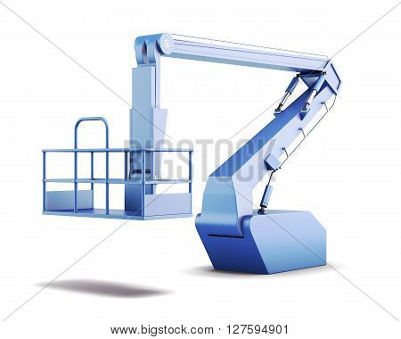 Cradle and lifting hydraulic construction isolated on white background. 3d rendering.
