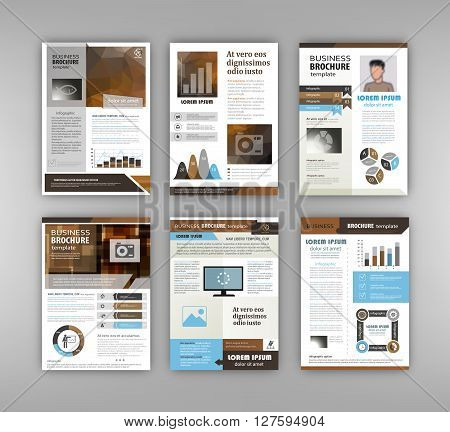 Abstract vector backgrounds and Infographic brochure elements for business and finance visualization. Set of infographic templates for flyer presentation booklet print website