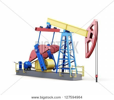 3d oil pump-jack isolated on white background.