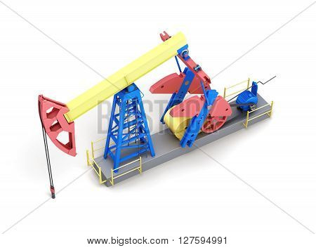 Oil pump-jack isolated on white background. Top view. 3d rendering.