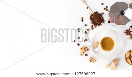 top view of espresso coffee, milk and sugar on white background with space for text