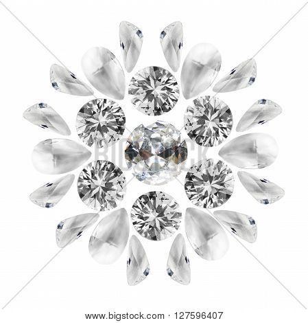 Group of diamonds and crystals on white background