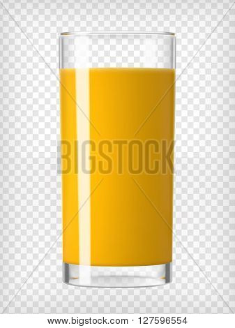 Orange juice glass. Fruit organic drink. Healthy diet. Clean eating. Tall glass with beverage. Transparent  photo realistic vector illustration.