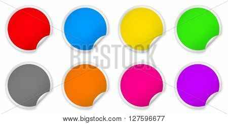 Set of colored paper round stickers isolated over white background