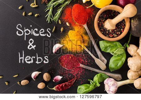 collection of spices and herbs