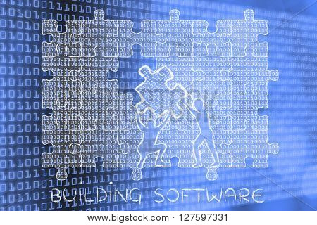 Filling A Gap With Puzzle Piece Of Binary Code, Building Software