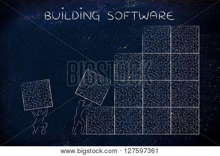 Men Lifting Blocks Of Messy Binary Code, Buiding Software