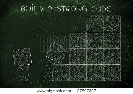 Men Lifting Blocks Of Messy Binary Code, Buid A Strong Code