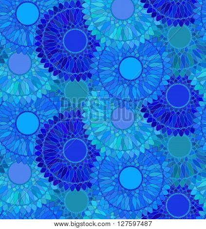 Seamless pattern with blue round ornament. Mandala background. Guilloche design line art. Vector illustration