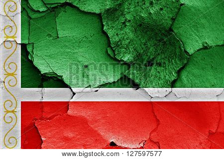 Flag Of Chechnya Painted On Cracked Wall