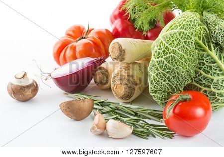 Fresh vegetables from the garden isolated on white