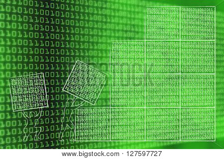 Men Lifting Blocks Of Binary Code To Build A Software Architecture