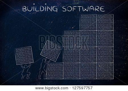 Men Lifting Blocks Of Binary Code, Buiding Software