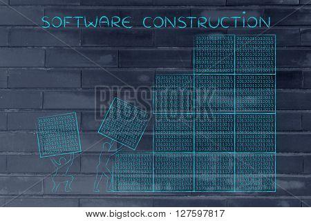 Men Lifting Blocks Of Binary Code, Software Construction