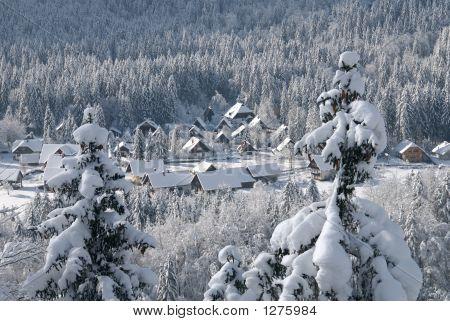 Alpine Village Covered In Snow