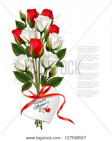 Bouquet of roses with a heart-shaped Happy Mother's Day note and red ribbon. Vector.
