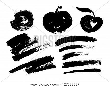 Black grungy vector abstract hand-painted background. Grunge Brush Stroke. Modern Textured Brush Stroke