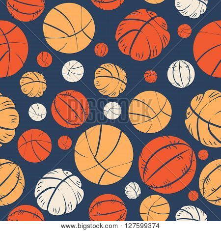 Colorful Seamless Pattern With Mixed Basketball Balls On Navy Background