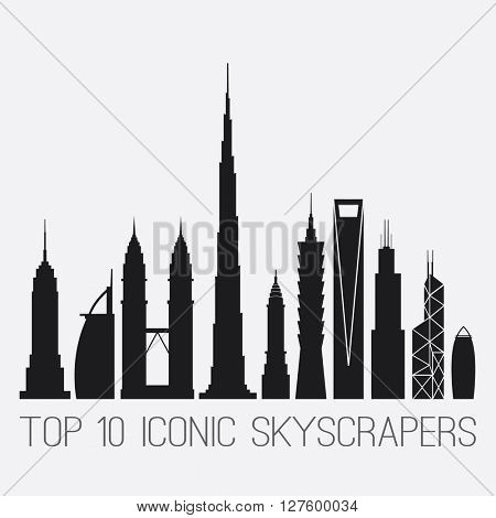 April 27, 2016. Iconic Skyscrapers. Empire St. Building, Burj Al Arab, Petronas Towers, Burj Khalifa, Chrysler Building, Taipei 101, Shanghai World Financial Ctr, Willis And Bank of China TWR, Gherkin