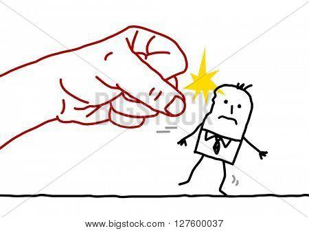 big hand and cartoon businessman - aggression