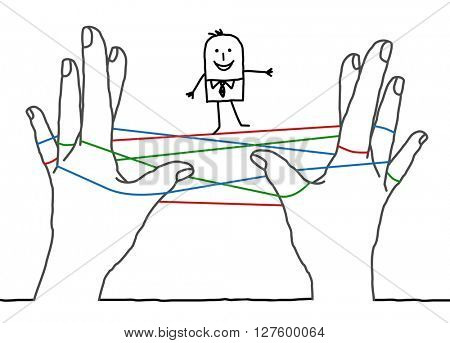 big hands and cartoon businessman - clean network