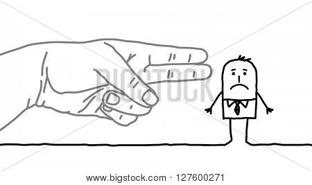 big hand and cartoon businessman - gun sign