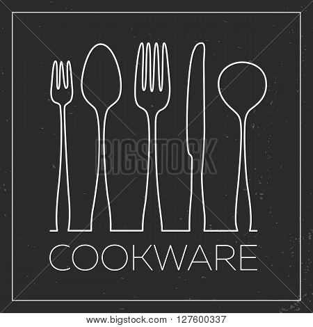 Cookware. White kitchenware vector icons in thin line style on black grunge background. Stylish modern concept may useful for logotype design poster banner advertisement
