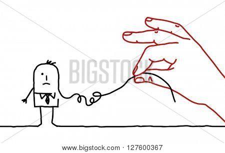 big hand and cartoon businessman - deconstruct