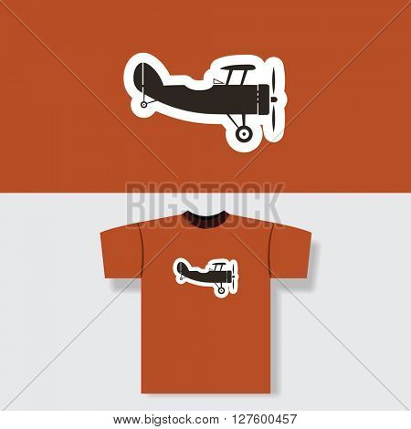 T-shirt Print Design Concept With Vintage Airplane Pattern