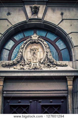 Mythical figure above a doorway in Buenos Aires