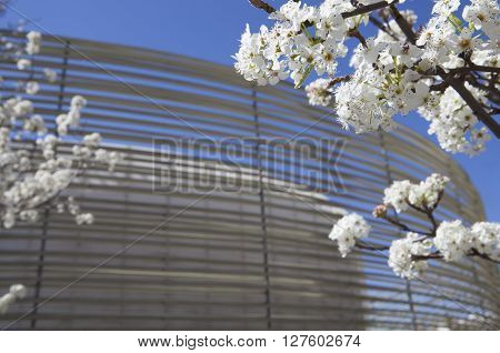 Badajoz, Spain - April 1, 2016: Congress Center Manuel Rojas. Designed by Jose Selgas and Lucia Cano