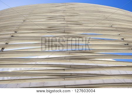 Badajoz, Spain - April 1, 2016: Congress Center Manuel Rojas. Designed by Jose Selgas and Lucia Cano. Fiberglass rings