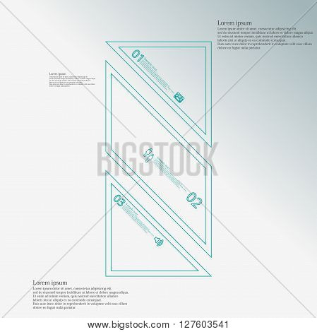Bar rectangle infographic illustration template askew divided to three blue parts. Each part contain text number and sign and is created by double outline contour.