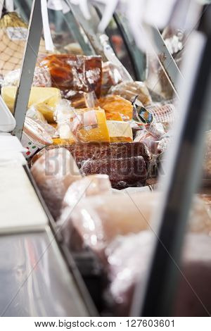 Closeup Of Meat Displayed At Counter