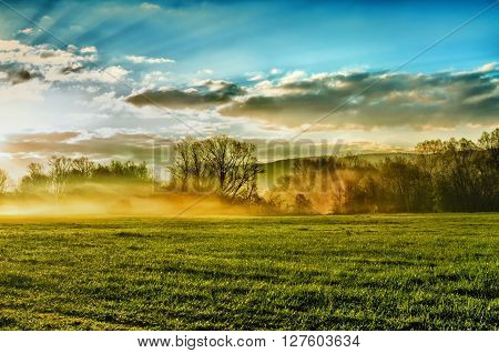 Spring landscape with haze.Landscape photo of mist in morning.Foggy morning meadow.