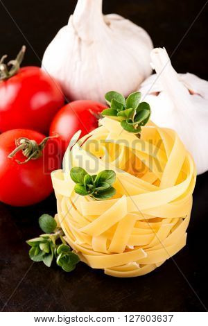 Fettuccine With Few Oregano Strigs And Vegetable