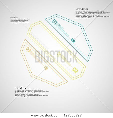 Octagon infographic illustration template askew divided to three color parts. Each part contain text number and sign and is created by double outline contour.