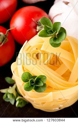 Top View On Fettuccine Portion With Oregano