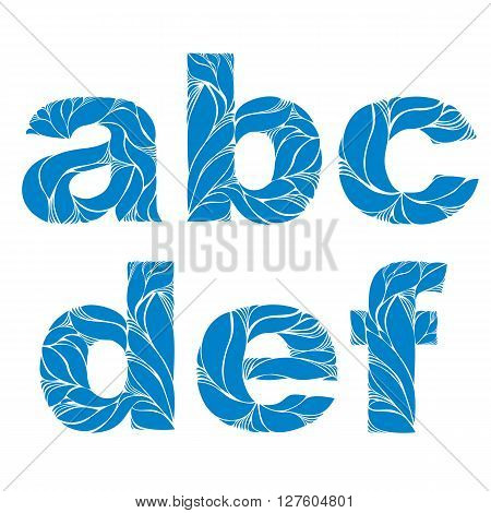 Marine Style Blue Vector Font, Typeset With Floral Elegant Ornament. A, B, C, D, E, F, Lowercase Let