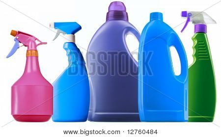 Detergent spray bottle isolated on white background