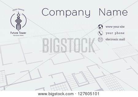 Architectural business card. Vector editable template with technical plan and contact icons